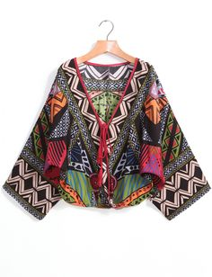 Green V Neck Tribal Print Crop Blouse 16.33