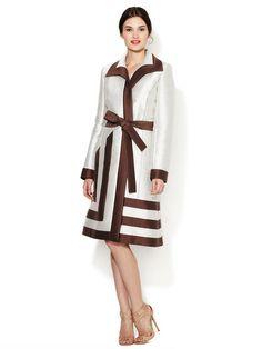 Carolina Herrera Cotton Striped Open Front Coat