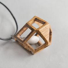 Oak Wood Polygonal Pendant, Natural Pebble, Modern Minimal Necklace, Cold Magical Jewelry by NovembreToys on Etsy