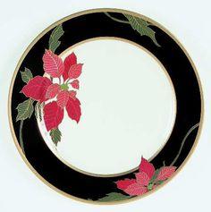 Actual: 2003 - 2005  Pattern: CHRISTMAS EVE by MIKASA [MIKCHEVE]    Pattern #: L3467  Description: RED POINSETTIA,BLACK BAND,GOLD TRIM