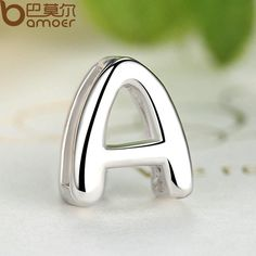 """BAMOER 2017 New Arrival Pendants for Lovers 925 Sterling Silver """"A"""" Alphabet Letter Pendants & Necklace Women Jewelry SCN024-A"""