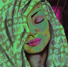 Woman with neon green hair & pink eyeshadow & lipstick art