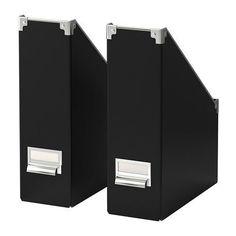 Amazon.com: Ikea Kassett 2 Pack Magazine File Folder Organizer, Black: Office Products