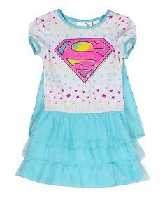 Love this White Supergirl Dress & Cape - Girls by Penguin Kids Wear on #zulily! #zulilyfinds