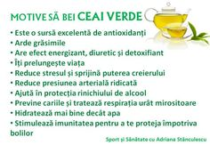 motive sa bei ceai verde Health Options, Metabolism, Health Fitness, Wellness, Healthy Recipes, Food, Medicine, Therapy, Diet