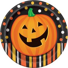 """9"""" Smiling Pumpkin Halloween Party Plates, 8ct"""