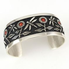 Coral Dragonfly Cuff by Philbert Begay - Garland's Indian Jewelry