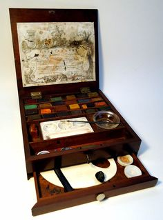 From around 1784 this boxed set of watercolor paint and equipment was made by Thomas Reeves & Son     They founded the Reeves Co. Artist supplier still in existance today.    Thomas and his brother William invented the dry paint block that got more  artists out of their studios - starting a revolution in modern art.