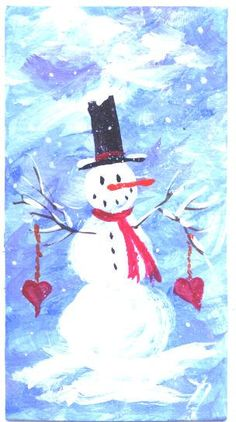 Snowman Two Hearts  miniature Valentines Day by jimsmeltzgallery, $15.00