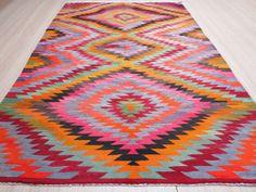 VINTAGE Turkish Kelim Rug Carpet Handwoven Kilim by sofART on Etsy, $549.00