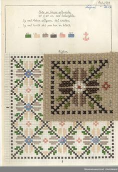 Trykt mønsterark i til brodert tekstil. Needlepoint Pillows, Needlepoint Stitches, Crochet Stitches, Needlework, Cross Stitch Samplers, Cross Stitch Charts, Cross Stitch Patterns, Chart Design, Bargello