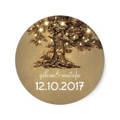 Shop Old oak tree wedding stickers created by jinaiji. Personalize it with photos & text or purchase as is! Wedding Favor Labels, Country Wedding Invitations, Rustic Wedding Favors, Wedding Ideas, Rustic Theme, Rustic Weddings, Wedding Details, Wedding Initials, Monogram Wedding