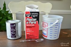 How to make your own homemade chalk finish paint using plaster of paris and latex paint. Very cost effective.