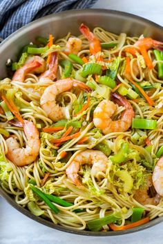 This recipe for shrimp chow mein is a quick and easy one pot meal with plenty of stir fried shrimp and vegetables tossed with noodles and a simple sauce. Shrimp Chow Mein, Chicken Chow Mein, Seafood Recipes, Chicken Recipes, Cooking Recipes, Meal Recipes, Seafood Dishes, Salmon Recipes, Fish Recipes