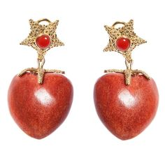 Cipullo Sea Coral Gold Heart Drop Detachable Earrings | From a unique collection of vintage drop earrings at https://www.1stdibs.com/jewelry/earrings/drop-earrings/