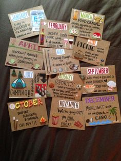 Date night cards. Give your S.O. 12 cards one for each month put a date night on them. Twist it up if you aren't f2f have your partner make cards for you with take away places in your area on them and vice versa. When you have your monthly date you order the take away, snuggle up with a movie, tv show, or Netflix and snuggle up together on Skype.