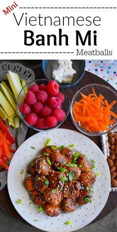 Mini Vietnamese Banh Mi Meatballs: #banhmi #meatballs #vietnamese #chicken #snack #SeedOfAGreatSummer #ad