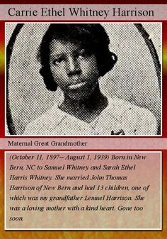 Fearless Females:  Genealogy Trading Card for Carrie Ethel Whitney Harrison #genealogy