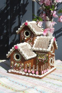 Gingerbread Style Spring Triplex Fairy House by GingerbreadFaire