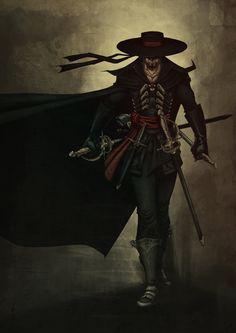 Walking Zorro by Valhein on DeviantArt Comic Character, Character Concept, Concept Art, Dnd Characters, Fantasy Characters, The Legend Of Zorro, Pirate Art, Arte Dc Comics, Western Comics