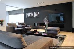 - Specialist in exclusieve interieurinrichting : ontwerp, productie, plaatsing Home Living Room, Living Room Designs, Living Room Decor, Living Spaces, Modern Fireplace, Fireplace Design, Modern Interior, Home Interior Design, Luxury Living