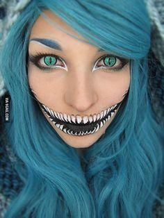 Cheshire cat lady Halloween makeup