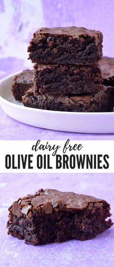 You'll fall head over heels for these deliciously easy Olive Oil Brownies. Filled to the brim with chocolate, these dairy free brownies have a crispy, crinkly top and a super fudgy centre. Recipe from Dairy Free Deserts, Dairy Free Treats, Dairy Free Cakes, Dairy Free Baking, Dairy Free Diet, Chocolate Chip Cookies, Chocolate Chips, Chocolate Cupcakes, Chocolate Desserts