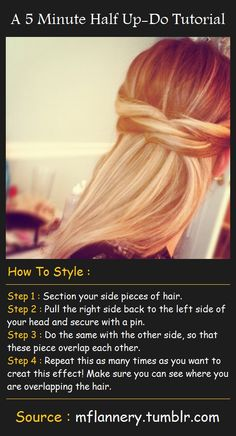 A 5 Minute Half Up-Do Tutorial | Pinterest Tutorials