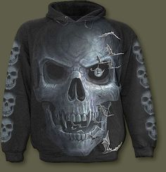 Spiral Black 'Skull Cavern' Men's Pullover Hoodie Punk Outfits, Gothic Outfits, Skull Hoodie, Moon Pictures, Black Skulls, Skeletons, Full Moon, Spiral, Graphic Sweatshirt