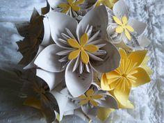 Handmade flower bouquet, Wedding Bouquet, Origami wedding Bouquet, yellow wedding bouquet. $65.00, via Etsy.