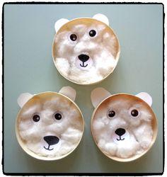 ours polaires avec boite de camembert, bricolage hiver, enfants, animaux montagne