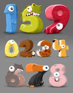 Hand-drawn Number Characters  #GraphicRiver         These fun little number monsters would be perfect for the classroom, a game, a birthday party decoration or anywhere else where you want to make counting, numbers, math, and learning fun!  	 Each critter is hand drawn to resemble some sort of animal (mythical or real). For example, the one is a fish. Two in a squirrel. Three was modeled after a saber-tooth tiger. Four is a dog. Five is a dragon. Six is a hippo. Seven is a bird. Eight is a…