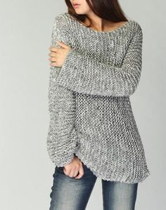 Sale - Hand knit woman sweater Eco cotton long sweater light grey
