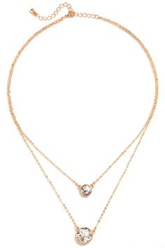 In All the Realm Gold Rhinestone Layered Necklace at Lulus.com!