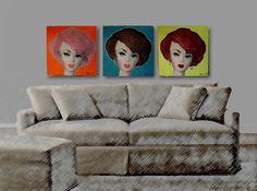 AFKA Joshard trio of bubblecut Barbie paintings by Jeff Bouchard