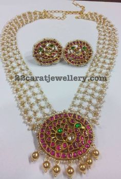 Pearls Chain with Ruby Pendant - Jewellery Designs Indian Jewellery Design, Bead Jewellery, Pendant Jewelry, Beaded Jewelry, Jewelry Design, Designer Jewellery, Gold Jewelry, Jewelery, Pearl Jewelry