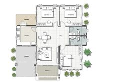 That Gray Bungalow with Three Bedrooms – Amazing Architecture Magazine Three Bedroom House Plan, Family House Plans, New House Plans, Dream House Plans, House Plans Mansion, Sims House Plans, House Layout Plans, Bungalow Floor Plans, Modern House Floor Plans