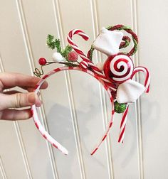 candy cane christmas headband for adults, christmas headband women, festive holiday headband by Tinseled Tiara!