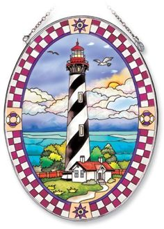 Amia Oval Suncatcher with St. Augustine Lighthouse Design, Hand Painted Glass, 6-1/2-Inch by 9-Inch by Amia. $24.00. Handpainted glass. Comes boxed, makes for a great gift. Includes chain. Amia glass is a top selling line of handpainted glass decor. Known for tying in rich colors and excellent designs, Amia has a full line of handpainted glass pieces to satisfy your decor needs. Items in the line range from suncatchers, window decor panels, vases, votives and much more.