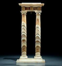 Pair of Columns, part of a Surtout de Table by Luigi Valadier (1762 - 1785), Rome, Italy, 18th century. On stepped marble base, the pair of columns made of flowery onyx. The capital in marble and precious stone, ormolu bronze & silver fluting & teeth motifs. H .: 31 cm.