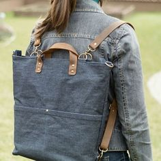 Wear it 4 different ways. Backpack Pattern, Diy Sewing Projects, Recycled Denim, Denim Bag, Bradley Mountain, Diaper Bag, Backpacks, Shoulder Bag, Photo And Video