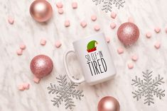 So Elfin' Tired Mug, Funny Christmas Mug, Christmas Mug by SweetSipsShop on Etsy Christmas Mugs, Funny Christmas, Menu Printing, Labour Day, Looking Forward To Seeing You, Tired, Tableware, Etsy, Christmas Mug Rugs