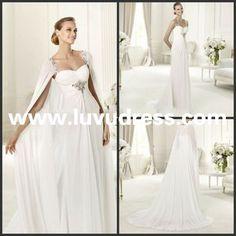 Unique design Sweetheart long cape empire waist chiffon materity 2014 Wedding Dress