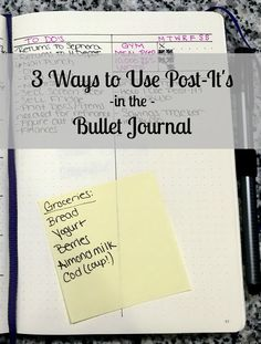 I have a confession… I love Post-Its! Before I started my bullet journal I had a collection of them every where I went. Piles at work, piles in my office and kitchen. And this is why I love the bullet journal – it offers all the flexibility I need while keeping the Post-Its that I still use organized! Here are 3 ways I use Post-Its…