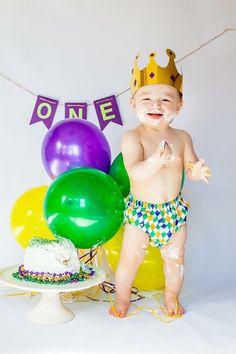 Mardi Gras baby! 1st birthday cake smash!!
