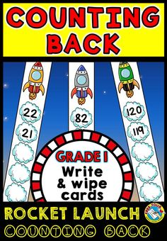 FIRST GRADE COUNTING BACK WRITE AND WIPE CARDS: STARTING NUMBER RANGE: 21 - 120  THIS ROCKET LAUNCH THEMED COUNTING BACK SET CONTAINS 80 CARDS  This hands-on fun pack, containing 80 task cards, is an ideal resource for your Math Center. What a fun way to consolidate counting back skills! Children have to count back and write the missing number on each cloud with a dry-erase marker!   All you have to do is print, laminate, cut out the task cards and place them in your Math center.