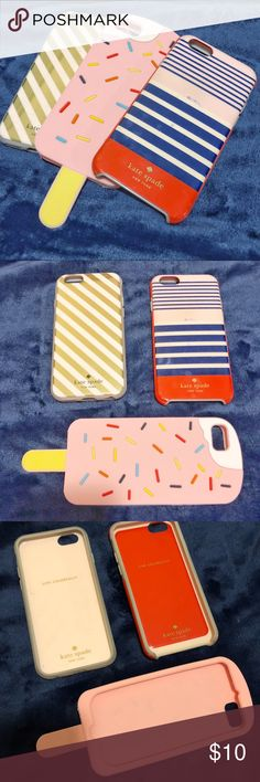 Kate Spade iPhone 6/7 Cases Bundle Varied condition. Selling as a Bundle- no trades! Middle ice cream bar is not Kate Spade but was only used once or twice and is like new- it's made of silicone. Other two are authentic Kate Spade. Have some sweat on both, and outsides have been stained blue from jeans. Red striped has a blue mark on it. Make me an offer. All fit iPhone 6/7 kate spade Accessories Phone Cases