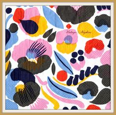 SALE *** TWO Paper napkins for DECOUPAGE - Marimekko Multicolor Flowers #337 by VintageNapkins on Etsy