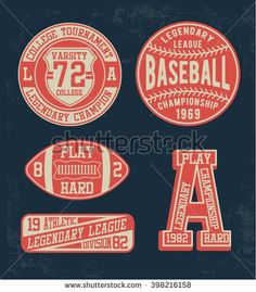 College vector label and print set, t-shirt graphics, vectors
