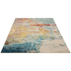 Like coral reefs along a sandy shoreline, this supremely breath taking Celestial area rug by Nourison is awash with color. It seems to teem with oceanic life as its deep blues, vivid red-orange and gleaming yellow tones flow beautifully from one to t Yellow Rug, Yellow Area Rugs, Blue Yellow, Coral Rug, Contemporary Area Rugs, Modern Rugs, Contemporary Bedroom, Nourison Rugs, Stain Remover Carpet